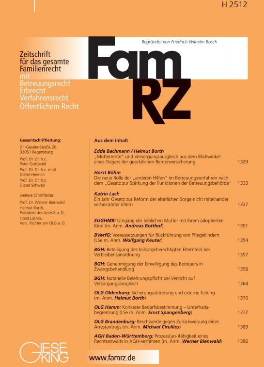 FamRZ Zeitschrift für das gesamte Familienrecht