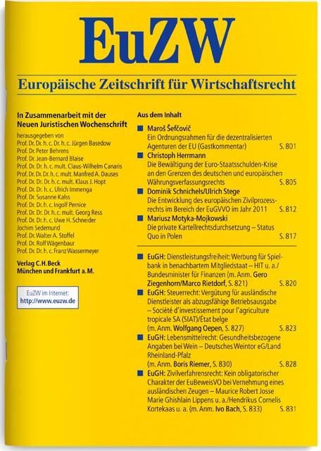 EuZW Europäische Zeitschrift für Wirtschaftsrecht